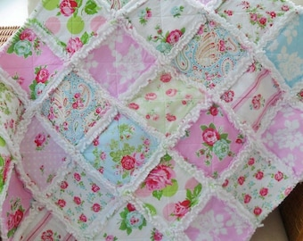 handmade patchwork cot quilt, rag quilt, baby blanket, lap quilt, made to order