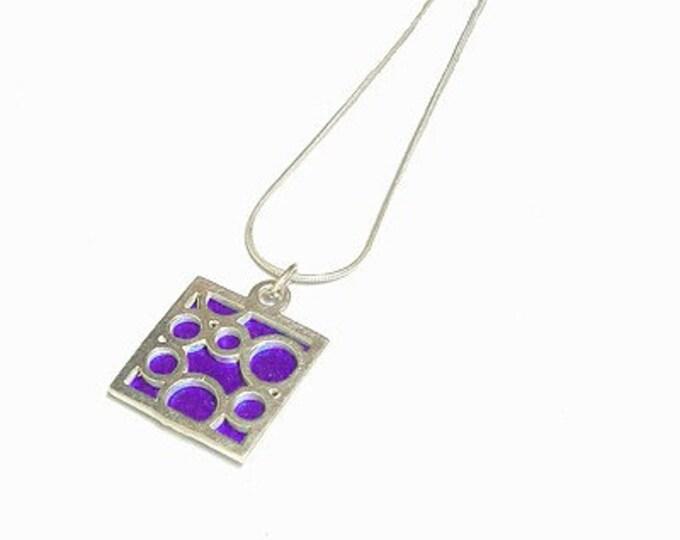 Small Square Purple Bubble pendant