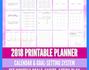Printable 2018 Planner - Monthly Calendar - Monthly Goal Setting - Weekly Planning Pages - 8.5x11 Letter Size PDF