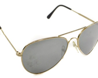 Vintage 70s Foster Grant Deadstock Classic Aviator Gold Rimmed Shades Sunglasses