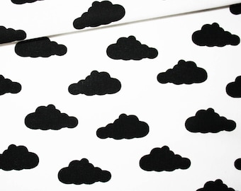 Clouds, cotton fabric printed 50 x 160 cm, black clouds on white, black and white background, deco
