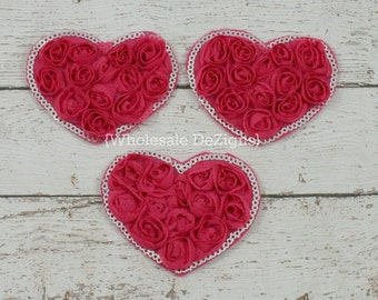 """Hot Pink Valentines Rosette Sequin Hearts - 3"""" - Shabby Chiffon Heart Appliques - 3 inch"""