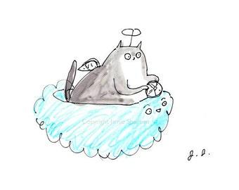 Kitteh Heaven- Cat Fine Art print - Cat Loss