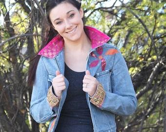 upcycled jacket XS- S upcycled clothing, slow fashion, denim jacket . melody fair