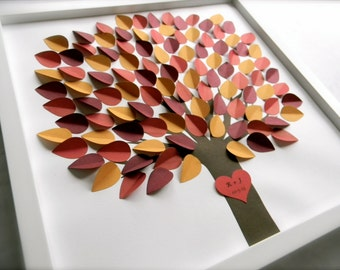 Wedding Guestbook 3D paper leaves and heart. Unique guest book, fall wedding, natural wedding, rustic shadowbox