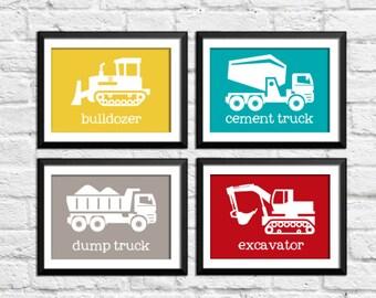 baby boy construction decor, kids decor, trucks art prints, trucks wall decor, construction transportation posters, bulldozer cement truck