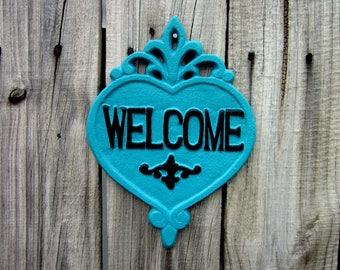 Welcome Plaque, Cast Iron, Turquoise, Black, Welcome Sign, Heart Plaque, Door Sign, Ornate Welcome Plaque, Indoor, Outdoor, Welcome