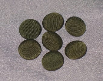 Vintage Green Fabric Covered Metal Buttons for Art, Craft, and Sewing Projects