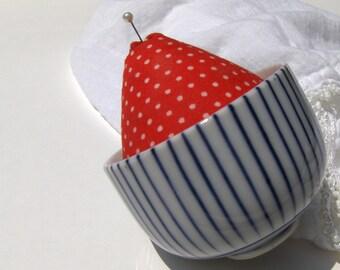 Teacup Pincushion Strawberry Red Blue & White Vintage Tea Cup Pin Cushion - #3077