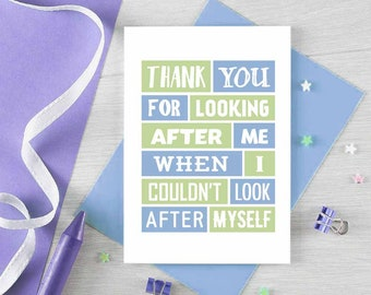 Thank You Card | Thank You For Looking After Me | Grateful | Mental Health | Appreciation Card | Thanks For Your Help | Blank | SE0184A6