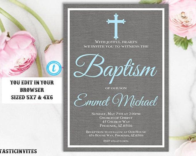 Baptism Invitation, Blue and Grey Baptism Invitation, Boy Christening Invite, Printable Baptism Invite, Dedication Invite, INSTANT DOWNLOAD