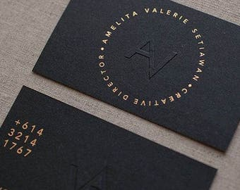 100 Business Cards - blind embossed - gold or silver metallic foil and many more - 14PT black matte stock -  custom printed