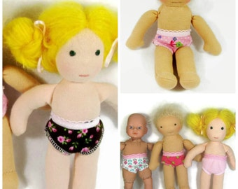 Waldorf doll clothes TWO PAIRS of undies for 7 to 8 inch waldorf doll with 5 to 6 in waist, 7 in doll underwear, 8 in doll underwear