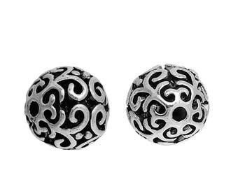 10 Antique Silver Round Filigree Spacer Beads 10mm (B202c)
