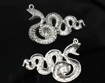 2 Pcs Large Snake Charms Antique Silver Tone 46x31mm- YD2820