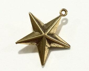 Metal Star Charm - Antique Gold Finish (12 pcs)