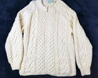 Quills Woolen Market Irish Handcrafted Cable Knit Zip Cardigan Cream Sweater Vintage