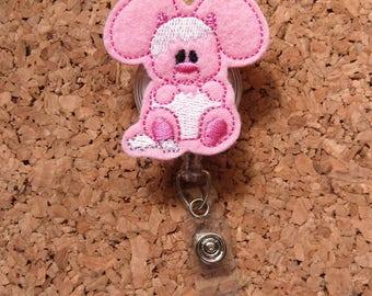 Cracked Egg Bunny Badge Reel, Id Card Holder, Retractable Felt Badge Holder, Lanyard, Badge Pull, Gifts for Hospital Staff, 1167