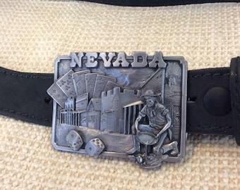 Vintage Nevada Siskiyou pewter made in USA 1982 buckle leather belt