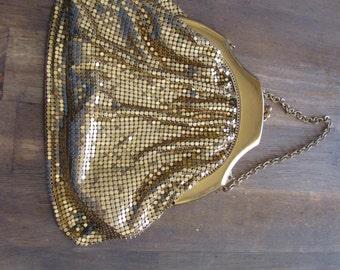 Vintage WHITING and DAVIS Gold Metal Mesh Evening Bag