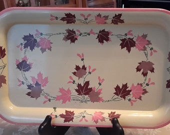 Vintage Mid Century Rectangular Leaf Patterned Metal Serving Tray, pink and brown, tv tray, breakfast tray, serving tray, brown and pink