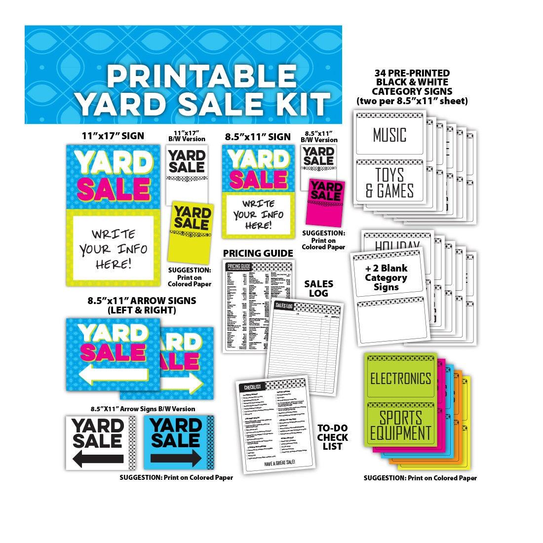 Yard Sale Zeichen Kit Bundle Tag Verkauf Flohmarkt