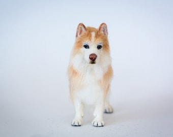Dollhouse Miniature Red and White Siberian Husky Artist Sculpted Furred OOAK Dog 1:12 Scale