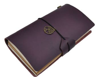 Deep Purple Leather Midori Inspired Traveler's Notebook Set, Refillable Leather Notebook Journal - PJ053