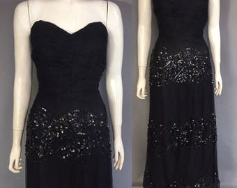 1940s sequinned evening gown with sweatheart bodice