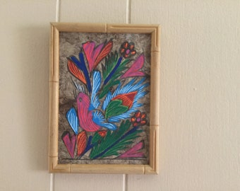 """Egyptian Papyrus Painting, vintage bird painting, 6x 8"""", 1970's, wood frame"""