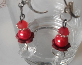 Pearls and glass Flower Earrings