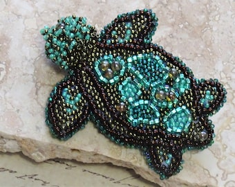 Handmade Bead Embroidery Turtle Pin Designed by Christine