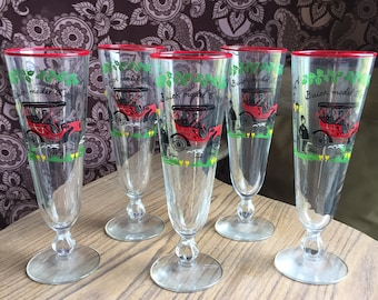 Libbey Glass - Horseless Carriage - Buick Model C 1905 Pilsner Glasses - Set of 5