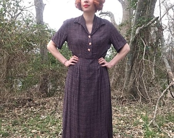 1940s Dress with Gorgeous Comora and Novelty Grape Buttons!