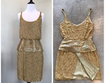 Vintage 80s Oleg Cassini Black Tie Silk Dress Coctail Gold Designer Mini Mod Beaded Sequin Event Formal Dinner Party 90s Glam Disco Dance