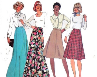 Simplicity 7308 Vintage 1970's Fit and Flare Four or Six Gore Maxi Skirt or Knee Length Skirt