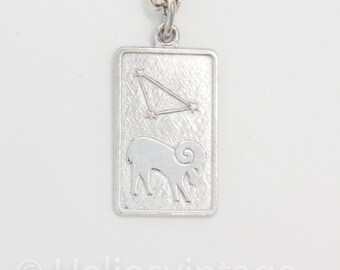 Vintage silver Aries necklace pendant, Zodiac sign jewelry, Aries jewelry, Ram necklace, Animal jewelry, Astrology jewelry, Gift for her