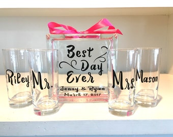"Sand Ceremony Set for Family Glass Containers - Glass Block ""Best Day Ever"" personalized -Side vessels with Mr and Mrs and names with bow"