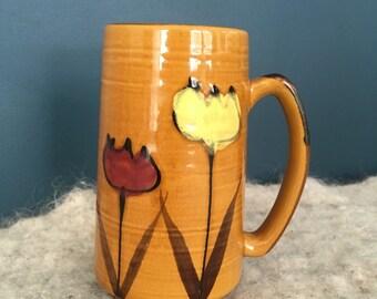 Vintage stoneware flower tulip mug