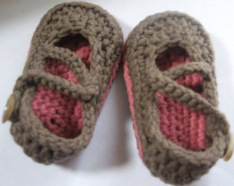 Crochet Cotton Baby Crossover Strap Mary Janes You Choose Size and Colors
