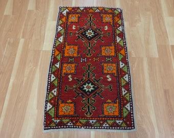 Red Turkish Rug Tribal Yastik Oriental Rug 2' x 3' 6