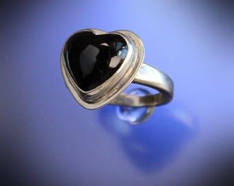 Black Onyx Heart Ring Sterling Silver Handmade