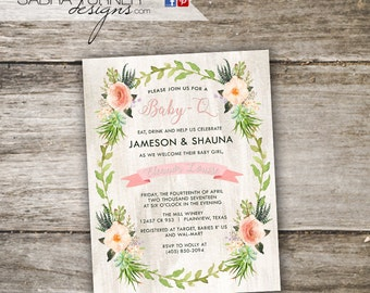 Rustic Baby-Q Baby Shower Invitation • Baby Shower BBQ Invitation • Watercolor Co-Ed Baby Shower Invitation • Baby-Q Invitation
