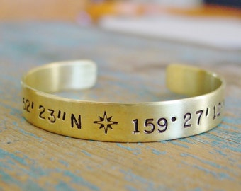 Custom Coordinates Bracelet, Brass Cuff, Latitidude Longitude Bracelet, Hand Stamped Jewelry, Location Jewelry, Personalized Gift for Her