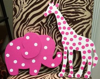 Wood Elephant and Giraffe Set