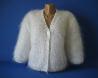 Made to Order Hand knitted Fluffy Soft Mohair Bolero Sweater Shrug White color size S,M,L