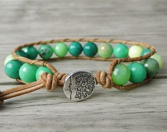 Green Beads bracelet Leather Wrap Bracelet Boho Agate Bracelet Yoga bead bracelet Men's wrap bracelet Jewelry Boho Wrap Bracelet SL-0152