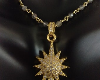 Pave sunburst necklace