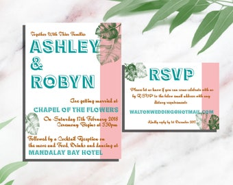 Tropical 50's Mid Century Style Wedding Invitation with RSVP and Envelope