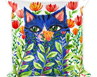 Blue Cat With Flowers, Cat Pillow, Pillow with Cat, Square Pillow, Cat Gift, Whimsical Cat, Cat Lady Gift, Cat Lover, Cat Cottage Designs